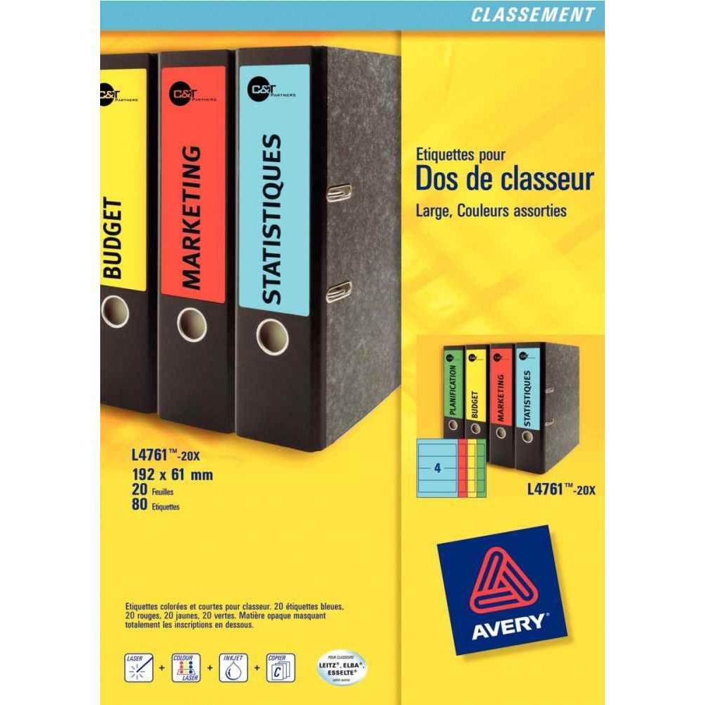 etiquette laser pour classeur levier dos 40 mm boite de 80 avery vente d 39 etiquette pour. Black Bedroom Furniture Sets. Home Design Ideas