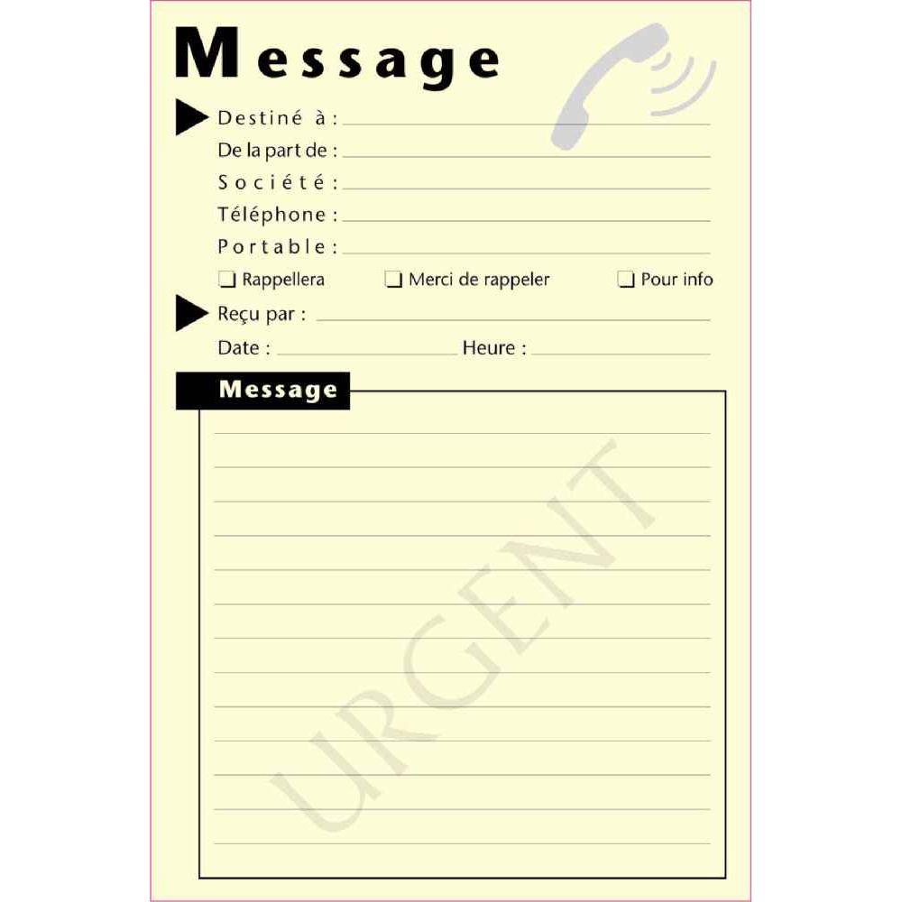 Bloc de 50 message telephonique format 10 x 15 cm - Telecharger un bloc note pour le bureau ...